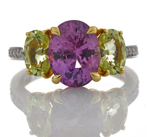 A pinkish-purple sapphire, chrysoberyl and diamond ring