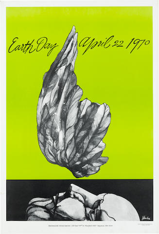 EARTH DAY POSTER. LANDAU, JACOB. 1917-2001. Earth Day. April 22, 1970. New York: Westbrook Lithographers for the Environmental Action Coalition.