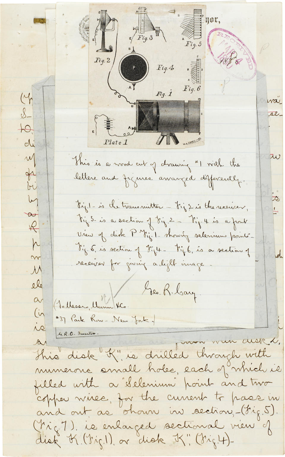 TELEVISION—CAREY ARCHIVE ON THE SELENIUM CAMERA. CAREY, GEORGE R. b.1851. Extensive archive from the files of George R. Carey containing both working diagrams and calculations and fair copies made for the patent purposes and publication, 1878-1903, comprising: