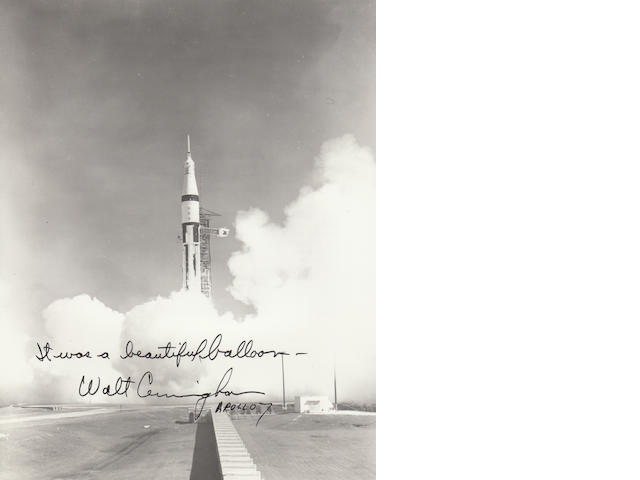 """A BEAUTIFUL BALLOON"" – SIGNED APOLLO 7 LAUNCH PHOTOGRAPH."
