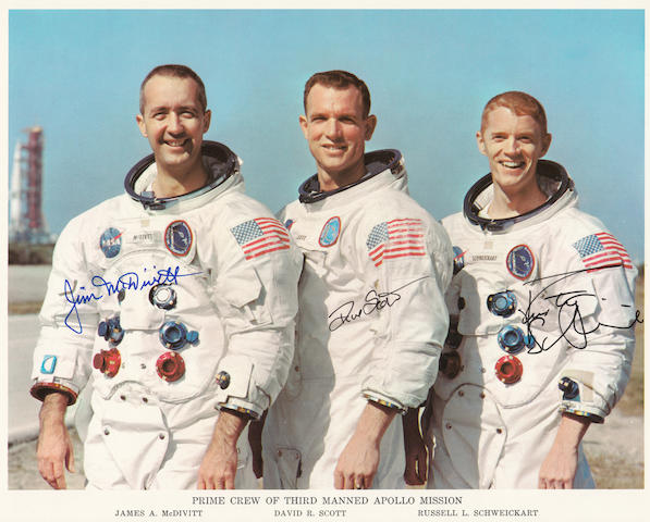 THE APOLLO 9 CREW – FIRST MEN TO FLY THE LUNAR MODULE.