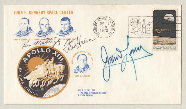 EX LUNA, SCIENTIA – FROM THE MOON, KNOWLEDGE – SIGNED POSTAL COVER. SIGNATURES OF THE ORIGINAL APOLLO 13 CREW.