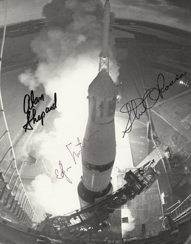 SHEPARD FLIES AGAIN, ALMOST A FULL 10 YEARS SINCE FREEDOM 7. CREW SIGNED APOLLO 14 LAUNCH CLOSE-UP PHOTOGRAPH.
