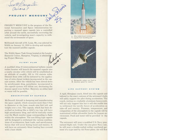 McDONNELL MERCURY BROCHURE—SIGNED. Project Mercury.