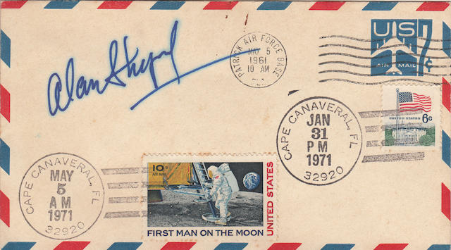 A DECADE OF ACHIEVEMENT, MERCURY TO APOLLO—SHEPARD SIGNED POSTAL ENVELOPE. FEATURES POSTMARKS FROM THREE SPACE FLIGHT MILESTONE EVENTS.