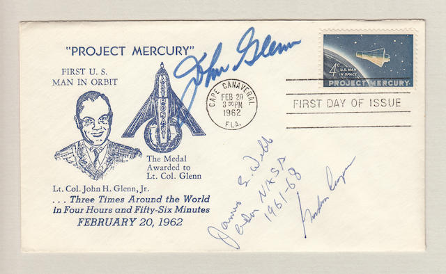 JOHN GLENN SIGNED MERCURY LAUNCH POSTAL COVER.