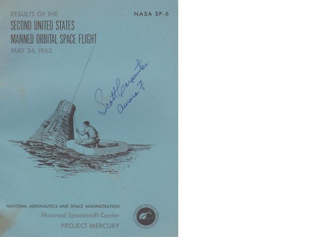 CARPENTER SIGNED ORBITAL FLIGHT REPORT. Results of the Second United States Manned Orbital Space Flight, May 24, 1962.
