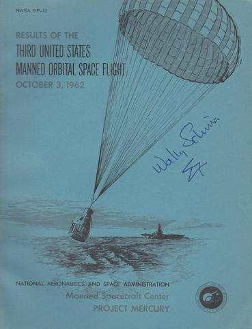 SCHIRRA SIGNED ORBITAL FLIGHT REPORT. Results of the Third United States Manned Orbital Space Flight, October 3, 1962.