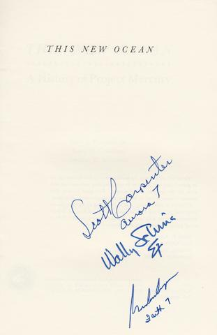 A MERCURY FLIGHT CONTROLLER'S BOOK—SIGNED. SWENSON, LOYD S., JAMES M. GRIMWOOD and CHARLES C. ALEXANDER. This New Ocean. A History of Project Mercury.