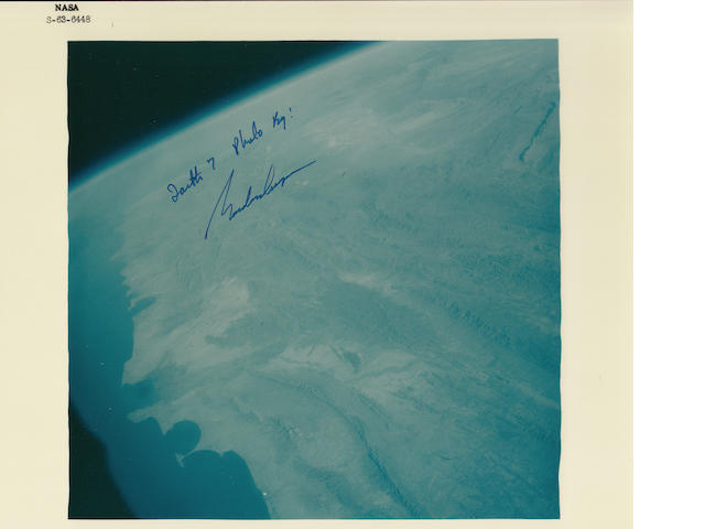 COOPER STUDIES THE EARTH FROM SPACE—ORBITAL VIEW SIGNED.
