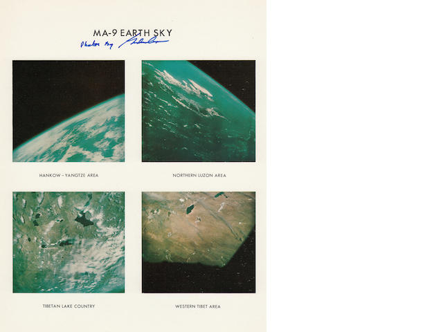 FAITH 7 MERCURY ATLAS 9 EARTH AND SKY VIEWS FROM ORBIT—SIGNED.