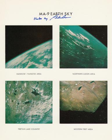 FAITH 7 MERCURY ATLAS 9 EARTH AND SKY VIEWS FROM ORBIT—SIGNED.