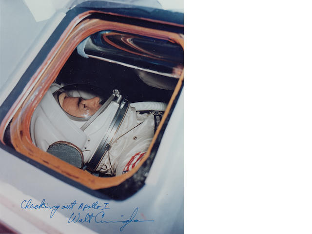 RUNNING TESTS WHILE INSIDE THE APOLLO 1 SPACECRAFT – SIGNED.