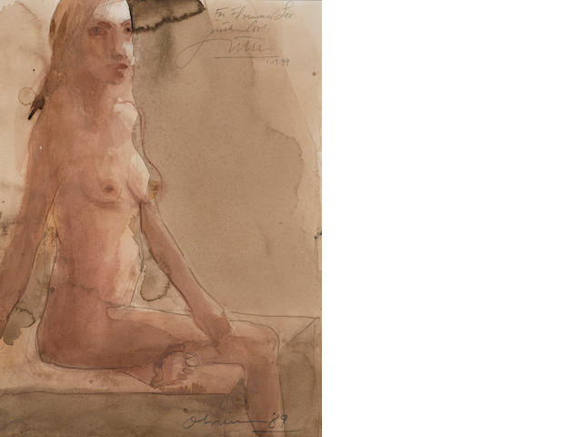 Nathan Oliveira (1928-2010) Seated nude, 1989 12 x 9in. (30.5 x 22.9cm)