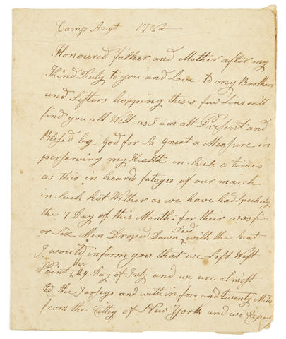 "REVOLUTIONARY WAR—SOLDIER'S LETTER. JEWETT, JAMES.  Autograph Letter Signed (""James Jewett""), 2 pp, small 4to (conjoined leaves), ""Camp"" [in New York], August 1780, to his family, reporting on recent army events,"