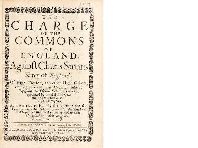 CHARLES I. 1600-1649. A Perfect Narrative of the whole Proceedings of the High Court of Justice in the Tryal of the King in Westminster Hall on Saturday the 20. and Monday the 22. of this instant January. BOUND WITH: A Continuation.... Parts 2 & 3. London: John Playford, January 23, 25 & 29, 1648 [i.e. 1649].