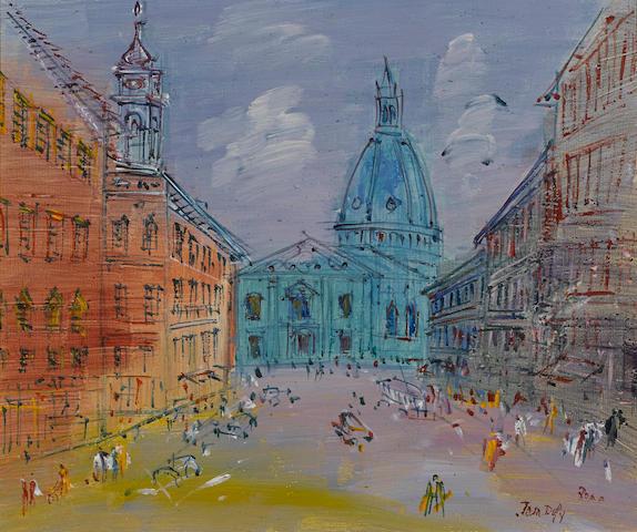 JEAN DUFY (1888-1964) Rome, l'église Sant'Andrea della Valle 18 1/4 x 21 3/4in. (46.4 x 55.2cm)