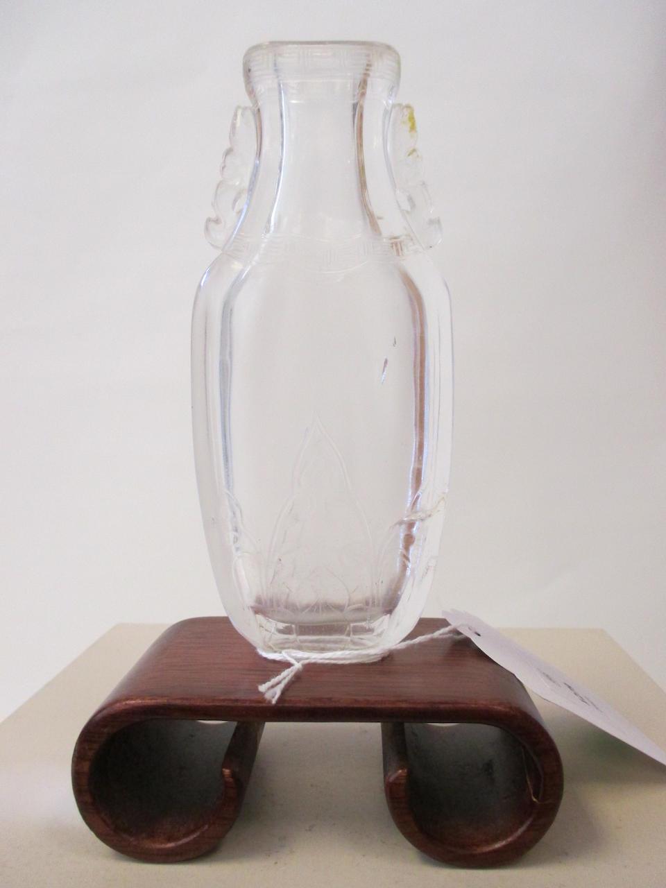 A rock crystal vase  19th century