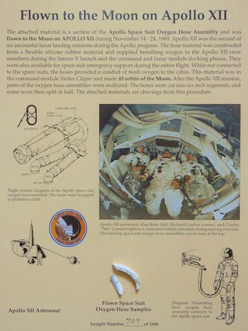 SPACE SUIT OXYGEN HOSE SEGMENTS FLOWN AND USED DURING APOLLO XII. Flown to the Moon on Apollo XII.