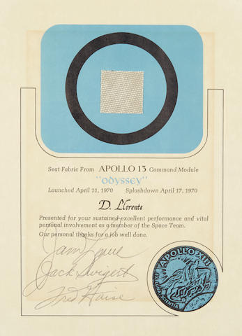 FLOWN AROUND THE MOON ABOARD APOLLO 13. FLOWN SWATCH OF SEAT FABRIC FROM THE APOLLO 13 COMMAND MODULE.