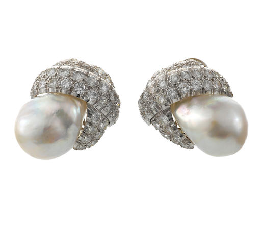 A pair of baroque cultured pearl and diamond earclips