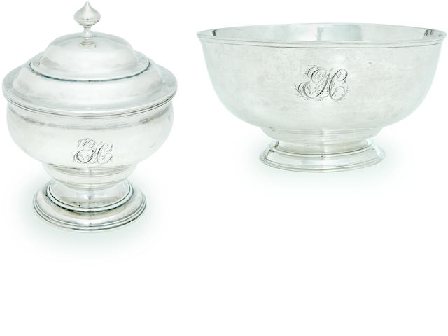 An American Colonial silver inverted pear-form covered sugar bowl and matching waste bowlby Joseph Richardson, Sr., Philadelphia, PA, circa 1770