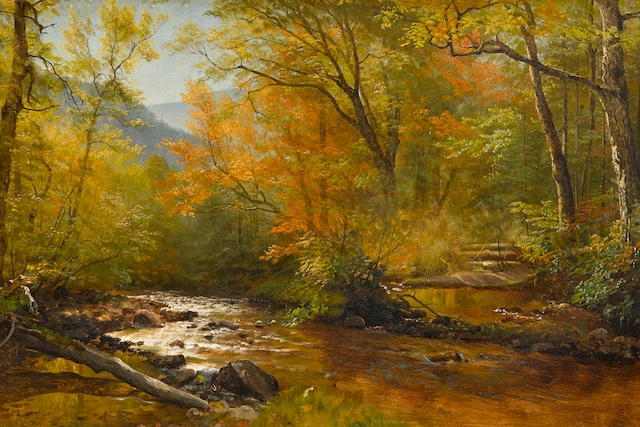 Albert Bierstadt (American, 1830-1902) Brook in Woods 20 3/8 x 29 3/4in