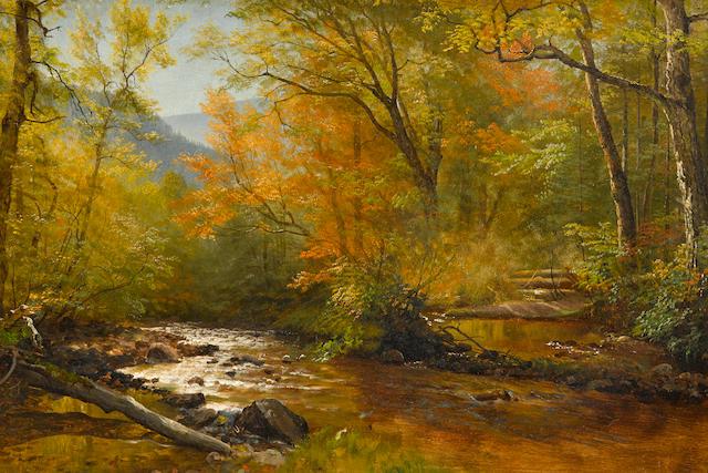 Albert Bierstadt (American, 1830-1902) Brook in Woods 20 3/8 x 29 3/4in