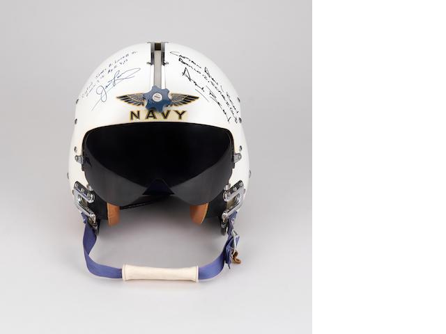 US NAVY FLIGHT HELMET SIGNED BY LOVELL AND BEAN.