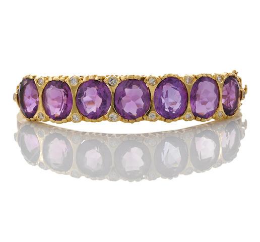 An amethyst and diamond bangle bracelet, Brandon Herman