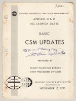 FRED HAISE'S APOLLO 16 TRAINING MANUALS - SIGNED. HAISE SERVED AS BACK-UP COMMANDER FOR APOLLO 16.