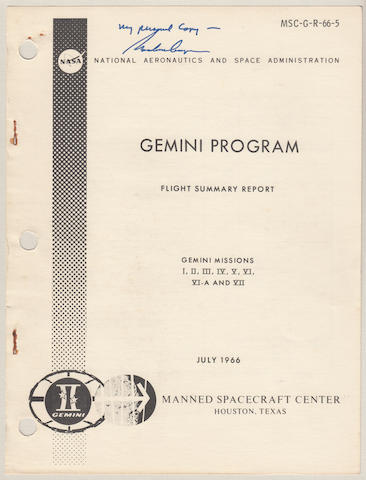 COOPER SIGNED DOCUMENTS FROM HIS COLLECTION. Gemini Program Flight Summary Report, Gemini Missions I, II, III, IV, V, VI-A, and VII.