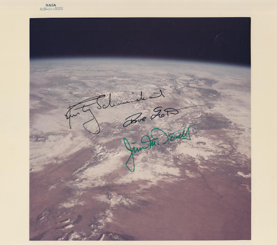 FYLING HIGH OVER THE EARTH—APOLLO 9 CREW SIGNED IMAGE.