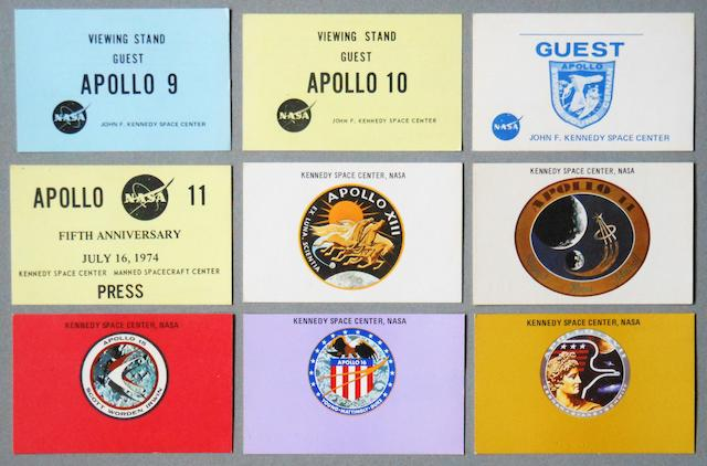 KENNEDY SPACE CENTER APOLLO SATURN LAUNCH VIEWING BADGES. ISSUED TO VIP'S, GUESTS, AND THE PRESS CORPS.