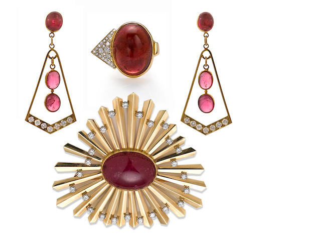 A pink tourmaline and diamond pendant/brooch, Clemente, together with a coordinating ring and pair of earrings