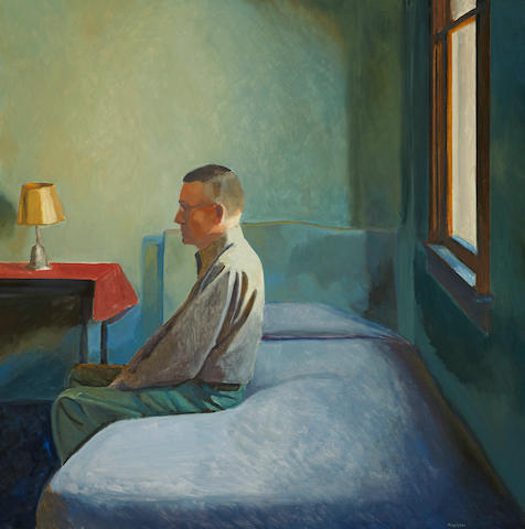 John Register (1939-1996) Man on Bed, 1995 50 x 50in. (127 x 127cm)