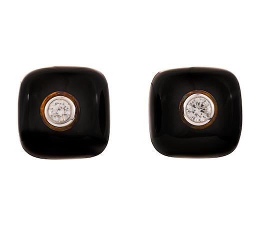 A pair of diamond and enamel earclips, David Webb