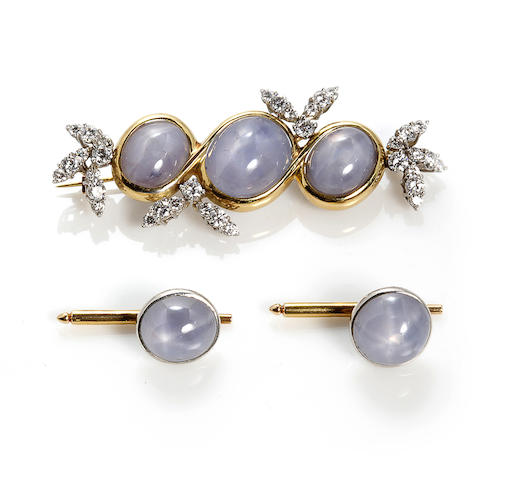 A star sapphire and diamond brooch together with two star sapphire shirt studs