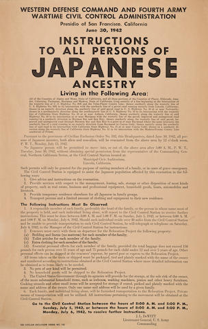 JAPANESE-AMERICAN INTERNMENT. Instructions to All Persons of Japanese Ancestry.... [San Francisco]: June 30, 1942.