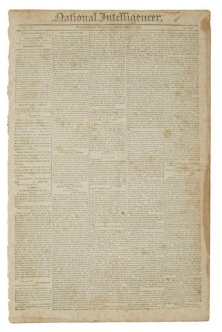 STAR-SPANGLED BANNER. [KEY, FRANCIS SCOTT.] National Intelligencer. Washington: September 27, 1814. Vol 15, no 2187.