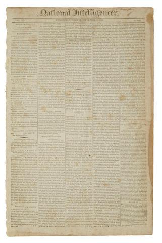 STAR-SPANGLED BANNER. [KEY, FRANCIS SCOTT.] National Intelligencer. Washington: September 27, 1814. Vol 15, no 2187.