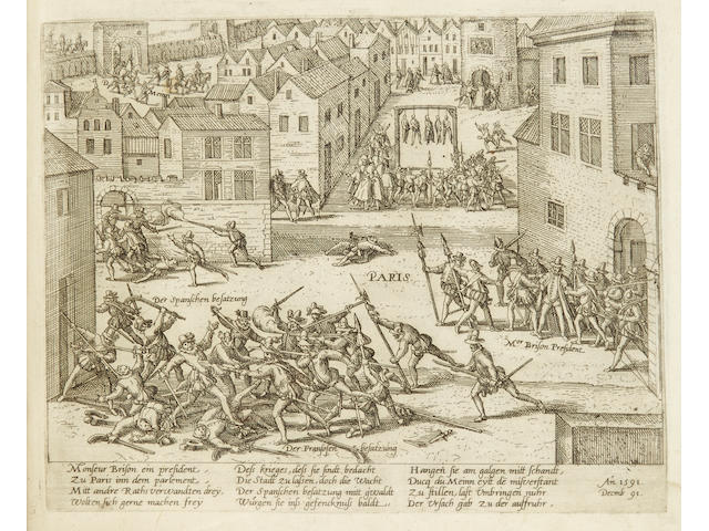 [HOGENBERG, FRANS. 1535-1590.] Compilation album of 290 copper-engraved Geschichtsblätter, i.e. depicting news subjects from 1559 to 1602,