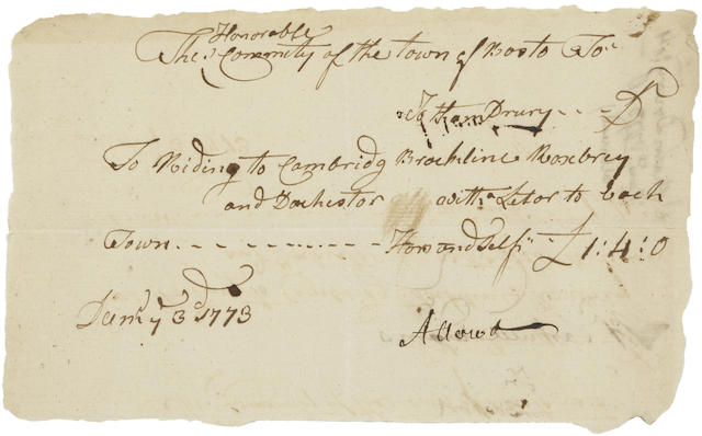 "PLANNING THE BOSTON TEA PARTY: RECEIPT FOR LETTERS DELIVERED FROM THE COMMITTEE OF CORRESPONDENCE. DRURY, JOTHAM. 1741-1831.  Autograph Document Signed integrally (""Jotham Drury""), 1 p, oblong 12mo, Boston, December 3, 1773, being an invoice submitted by Drury to the Boston Committee of Correspondence for the delivery of letters to the surrounding towns,"