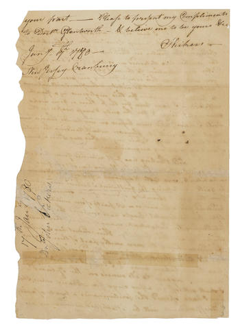 """LORD STIRLING'S ATTEMPT ON STATEN ISLAND. VICKERS, J[OHN]. Autograph Letter Signed (""""J. Vickers""""), 2 pp recto and verso, legal folio, Cranberry, New Jersey, January 17, 1780, to ANDREW CRAIGIE, reporting on the recent action at Staten Island led by Lord Stirling,"""