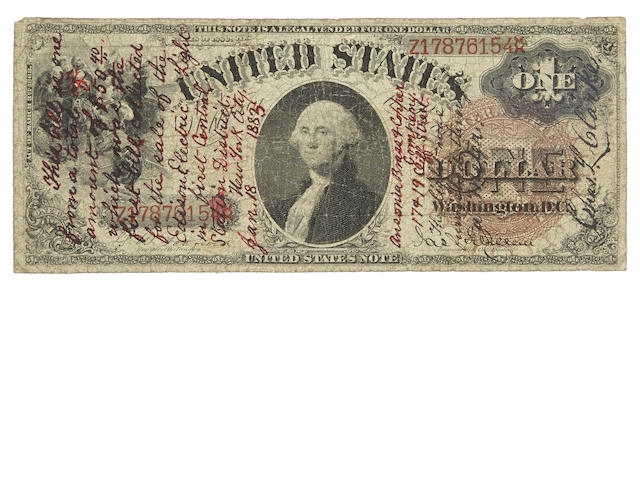 [EDISON, THOMAS ALVA. 1847-1931.] Engraved $1 Bill, Endorsed and Signed by Charles L. Clarke on face