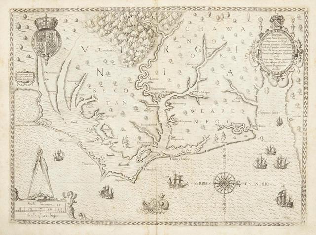BRY, THEODOR DE, JOHANN THEODOR DE BRY AND JOHANN ISRAEL DE BRY. Admiranda Narratio Fida Tamen, de Commodis et Incolarum Ritibus Virginiae. Frankfurt: Johann Wechel, 1590.