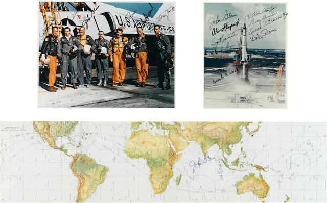 ORIGINAL MERCURY 7 PHOTOS AND ORBITAL CHART. SIGNED.