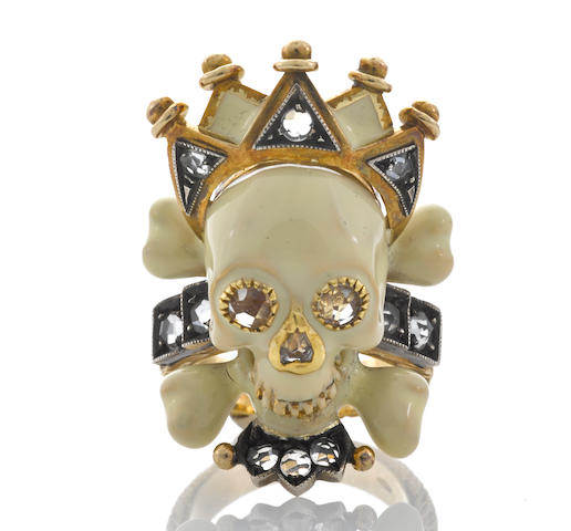 "An enamel, colored diamond and diamond skull and crown ""Memento Mori"" ring, Attilio Codognato"