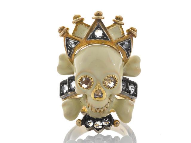 """An enamel, colored diamond and diamond skull and crown """"Memento Mori"""" ring, Attilio Codognato"""