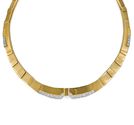 A diamond, eighteen karat gold and platinum collar necklace, David Webb